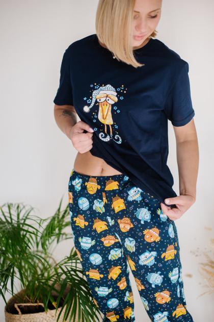 Пижама женская ЖП 024 (т.-синий+принт совята)