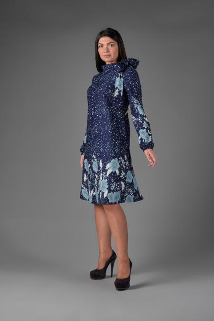 Платье П 766/1 (Купон Цветы на т-синем)