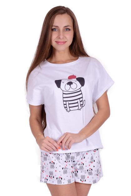 Женская пижама ЖП 022 (белый + собаки)