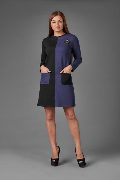 Платье П 762 (черный+индиго)