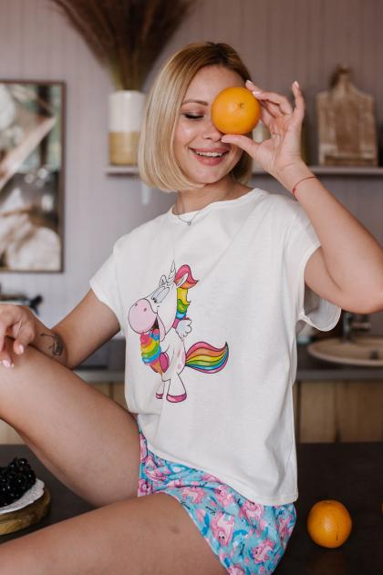 Женская пижама ЖП 022 (молочный+принт единороги)