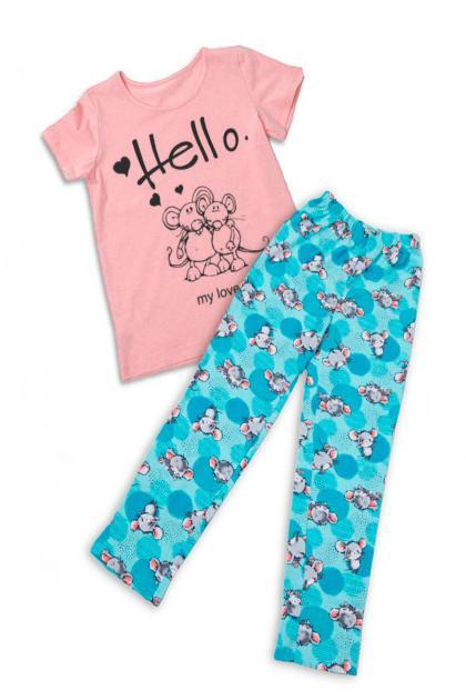 Пижама детска ПЖДК-421 Светло-розовый с зеленым